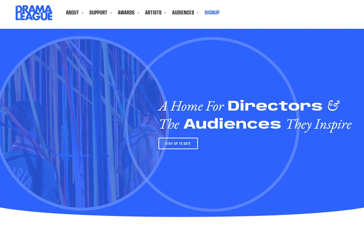Drama League Website still, two circles and and image of a curtain doorway