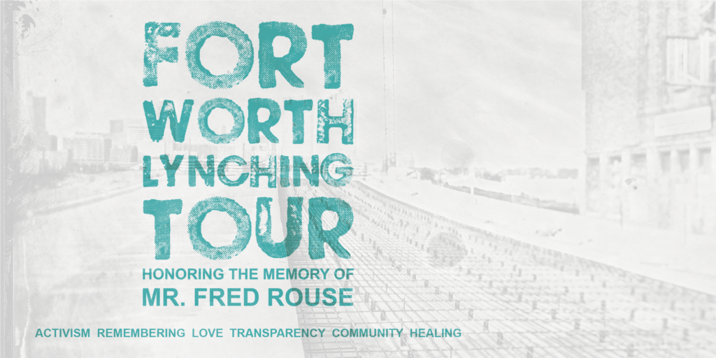 "The graphic says ""Fort Worth Lynching Tour"" in a big teal fontn"