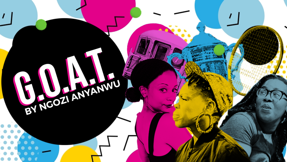 a colorful graphic with two women, one profile and one facing towards the viewer, the words G.O.A.T.