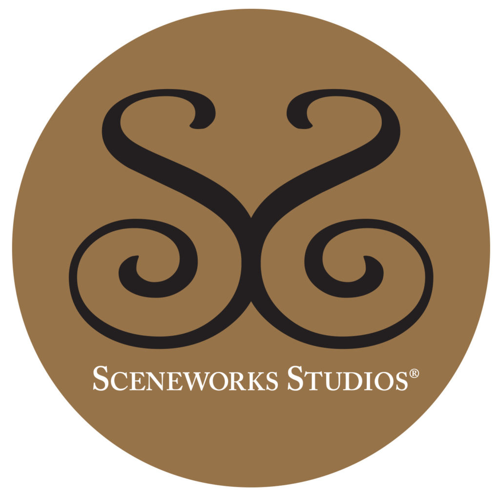 Sceneworks Studios logo with a brown circle and two S's facing each other