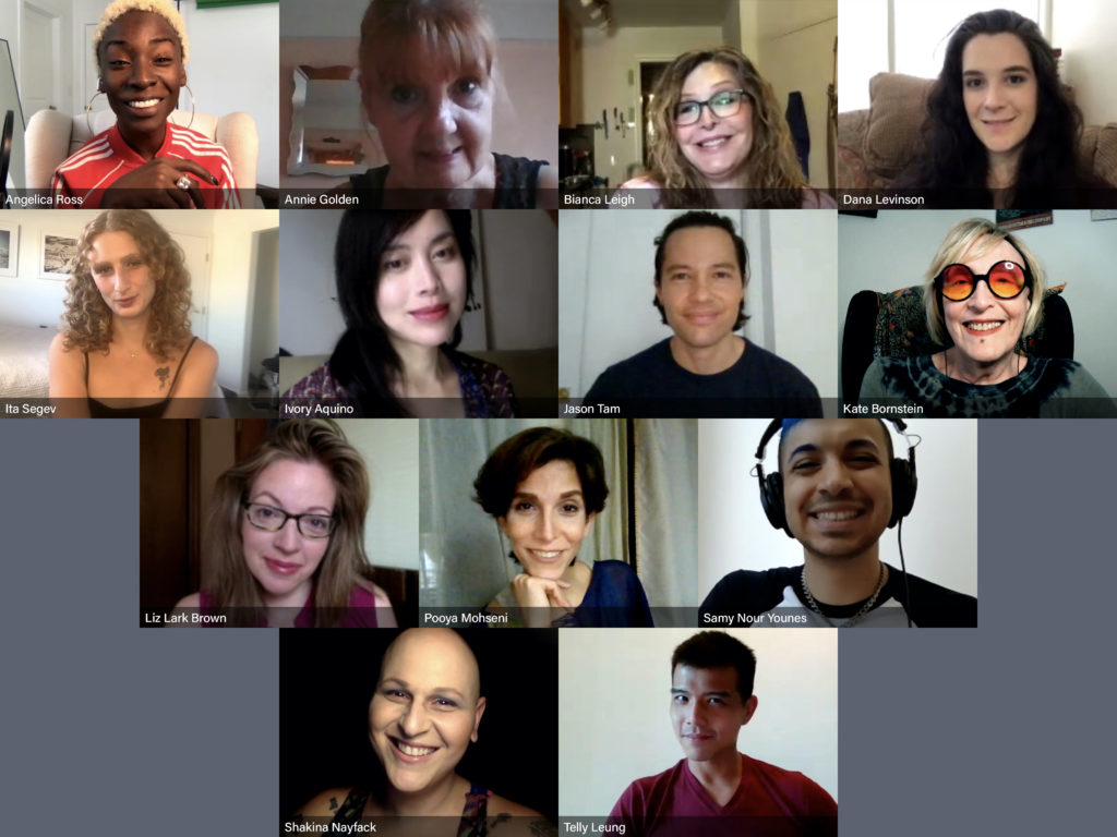 A zoom meeting with 13 assortedfaces