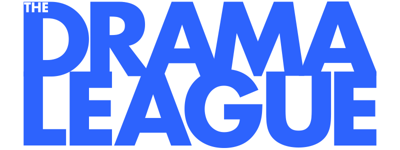 The Drama League Logo, blue in a bold and wide font