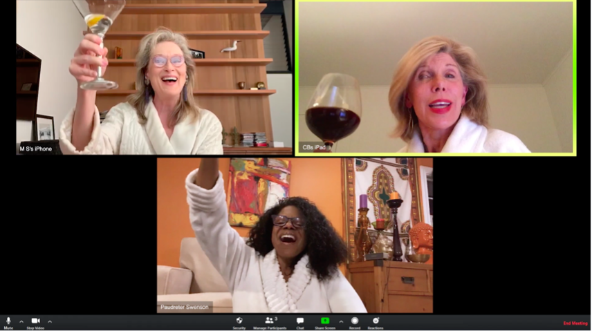 Meryl Streep, Audra McDonald, and Christine Baranski sing and lift wine glasses in white robes